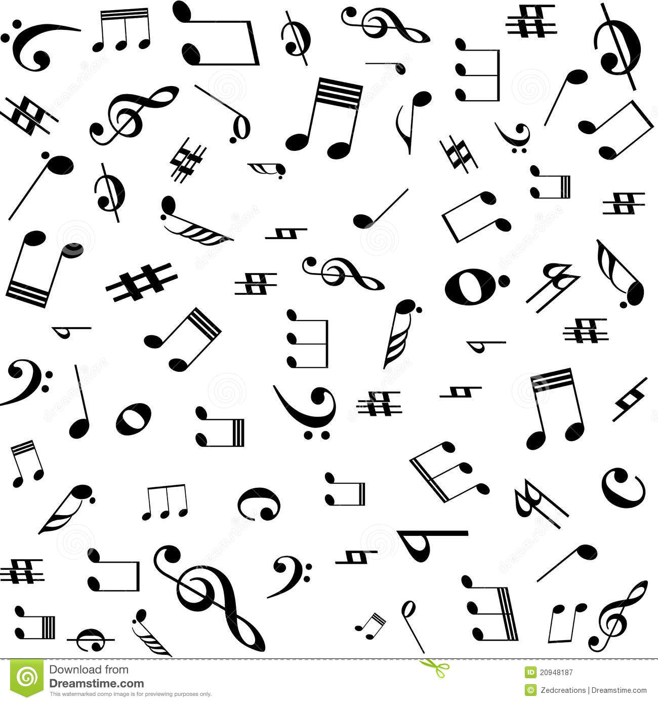 Music Notes Pat... Free Black And White Clip Art Letters
