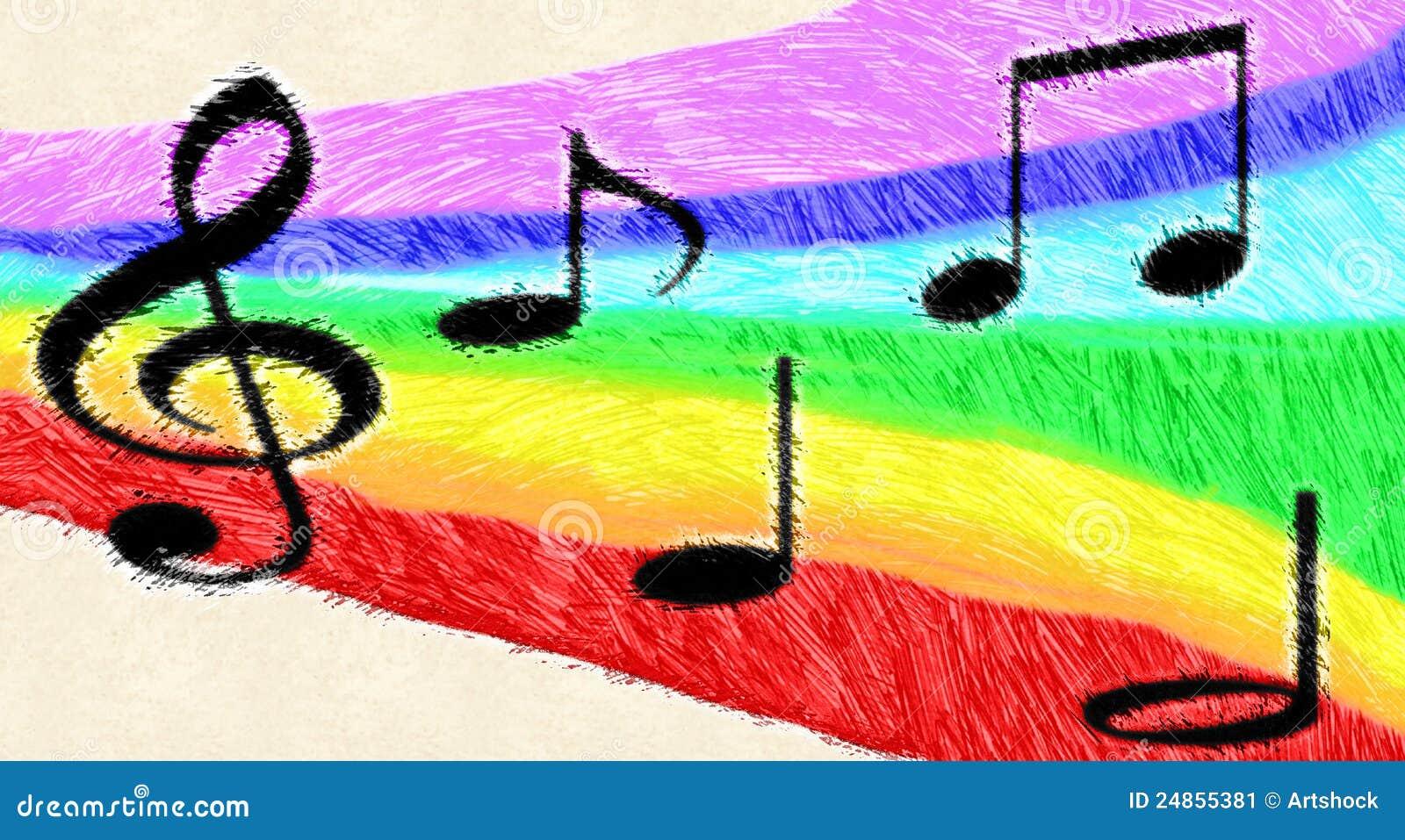 Music Notes On Rainbow Stock Illustration. Illustration Of