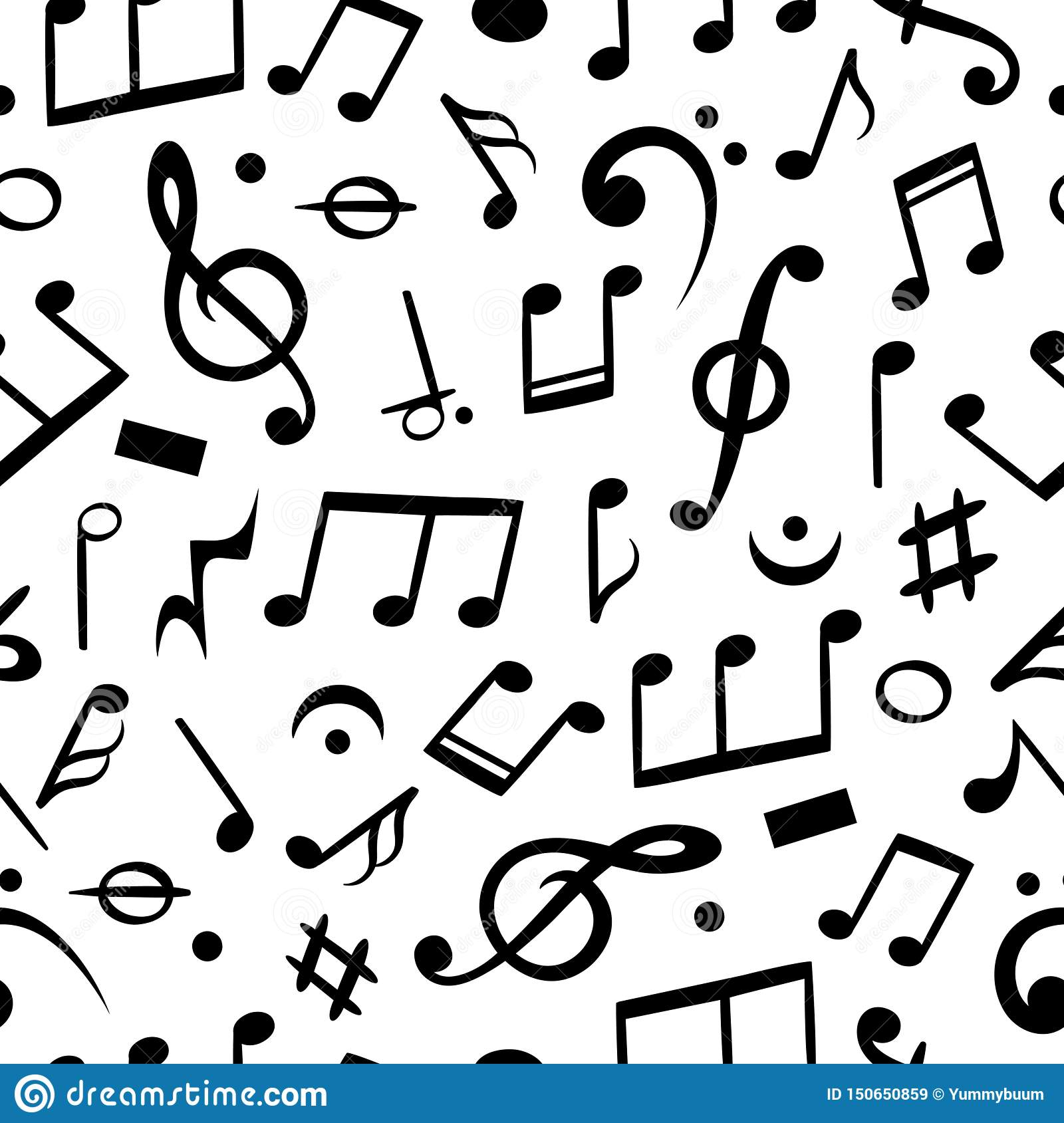 Music Notes Seamless Musical Note Pattern Textile Wallpaper