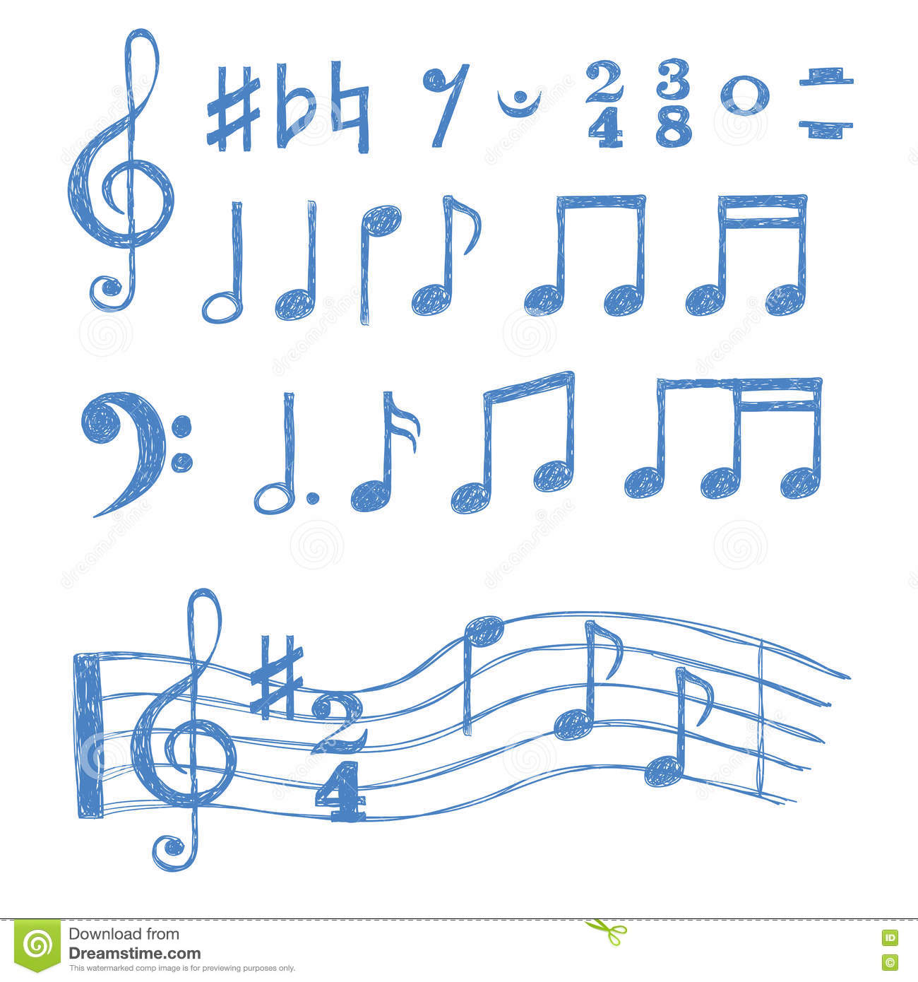 dd93b3211181 Music Notes Set. Collection Of Sketch Music Symbols Stock Vector ...