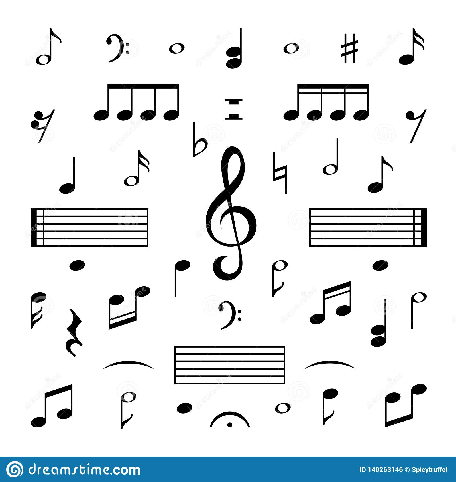 Music Notes Set  Musical Note Treble Clef Silhouette Signs