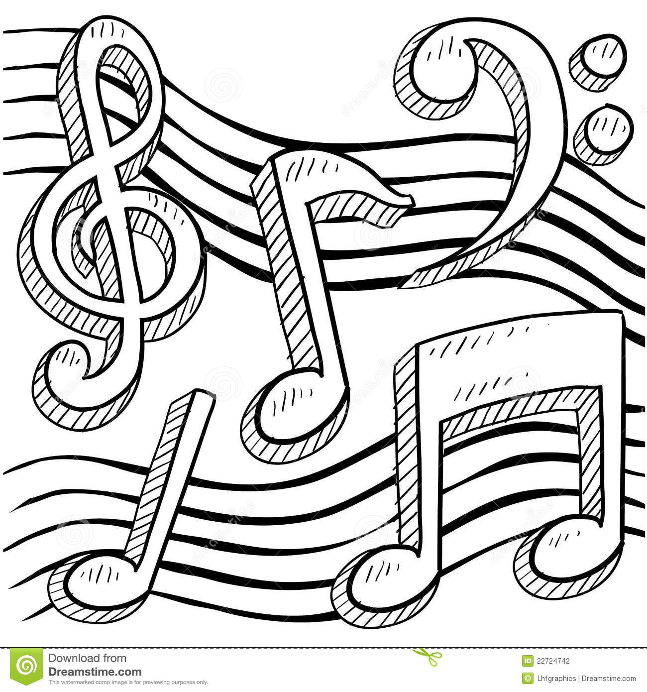 Music notes sketch stock photography image 22724742 for Sound of music coloring pages