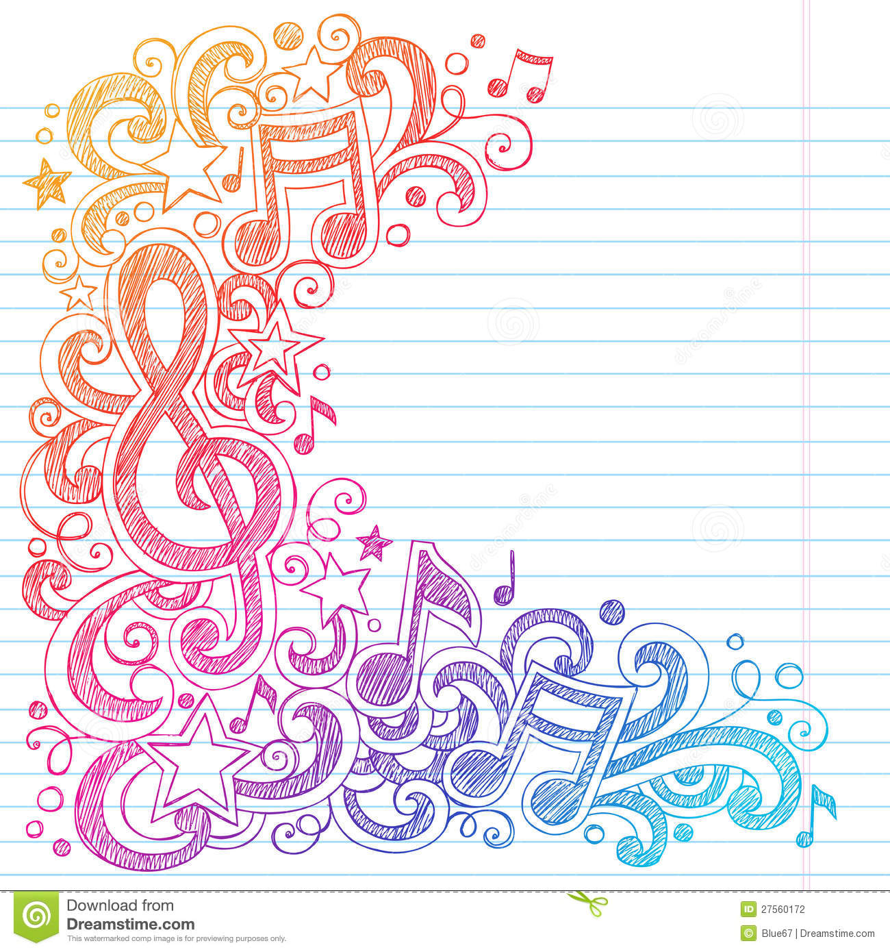 music notes sketchy school doodles vector stock photography image 27560172. Black Bedroom Furniture Sets. Home Design Ideas