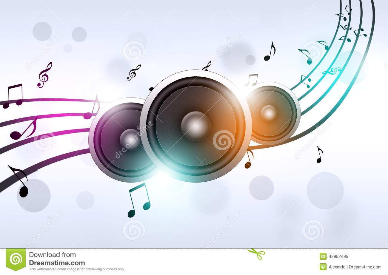 Music Notes And Sound Speakers Stock Illustration - Image