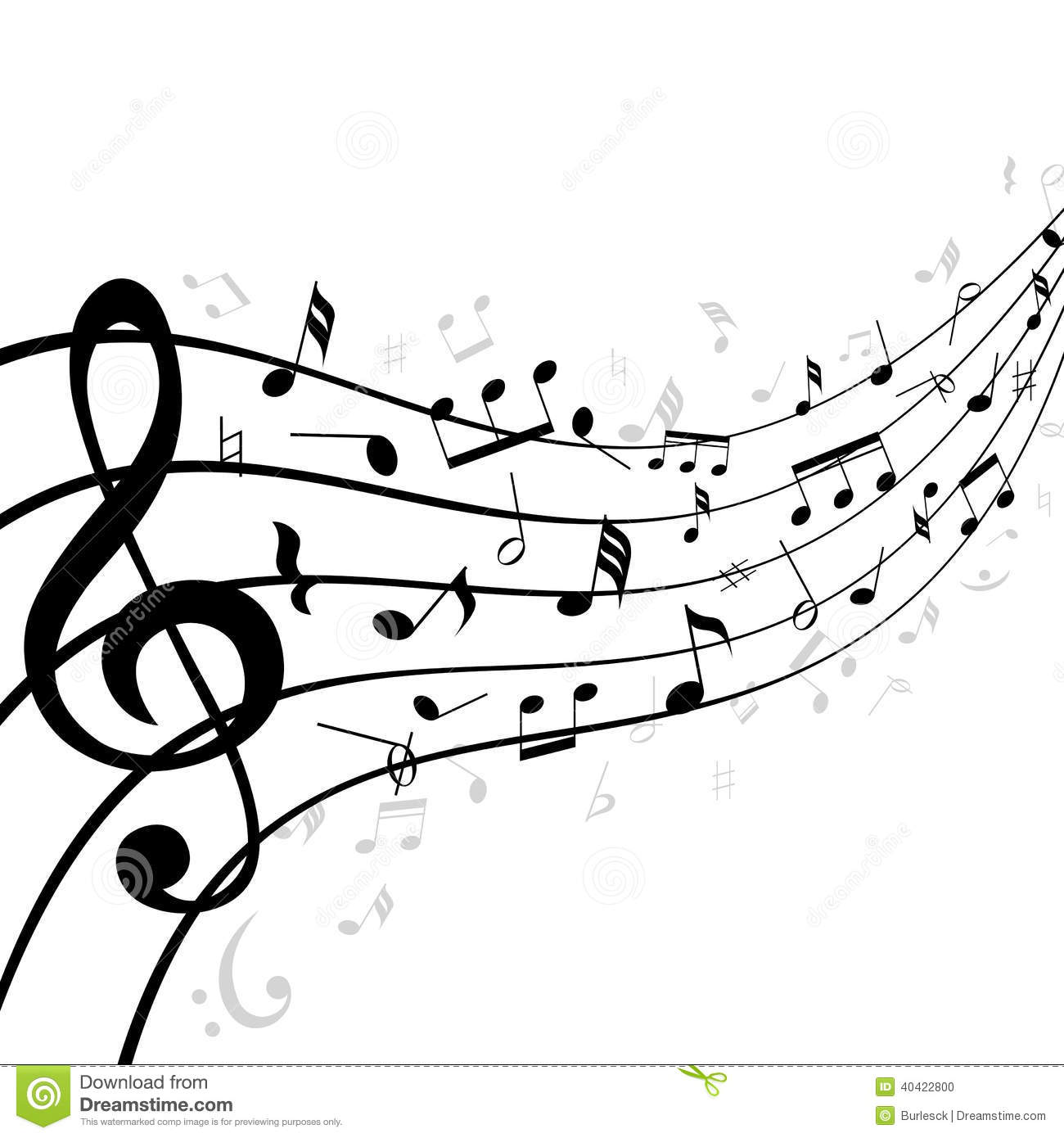 Line Drawing Music : Music notes on a stave or staff vector illustration