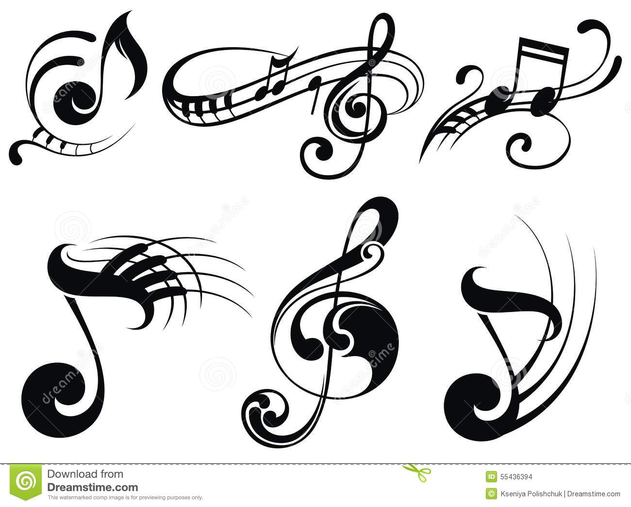 Music Notes On Staves Stock Vector Image 55436394