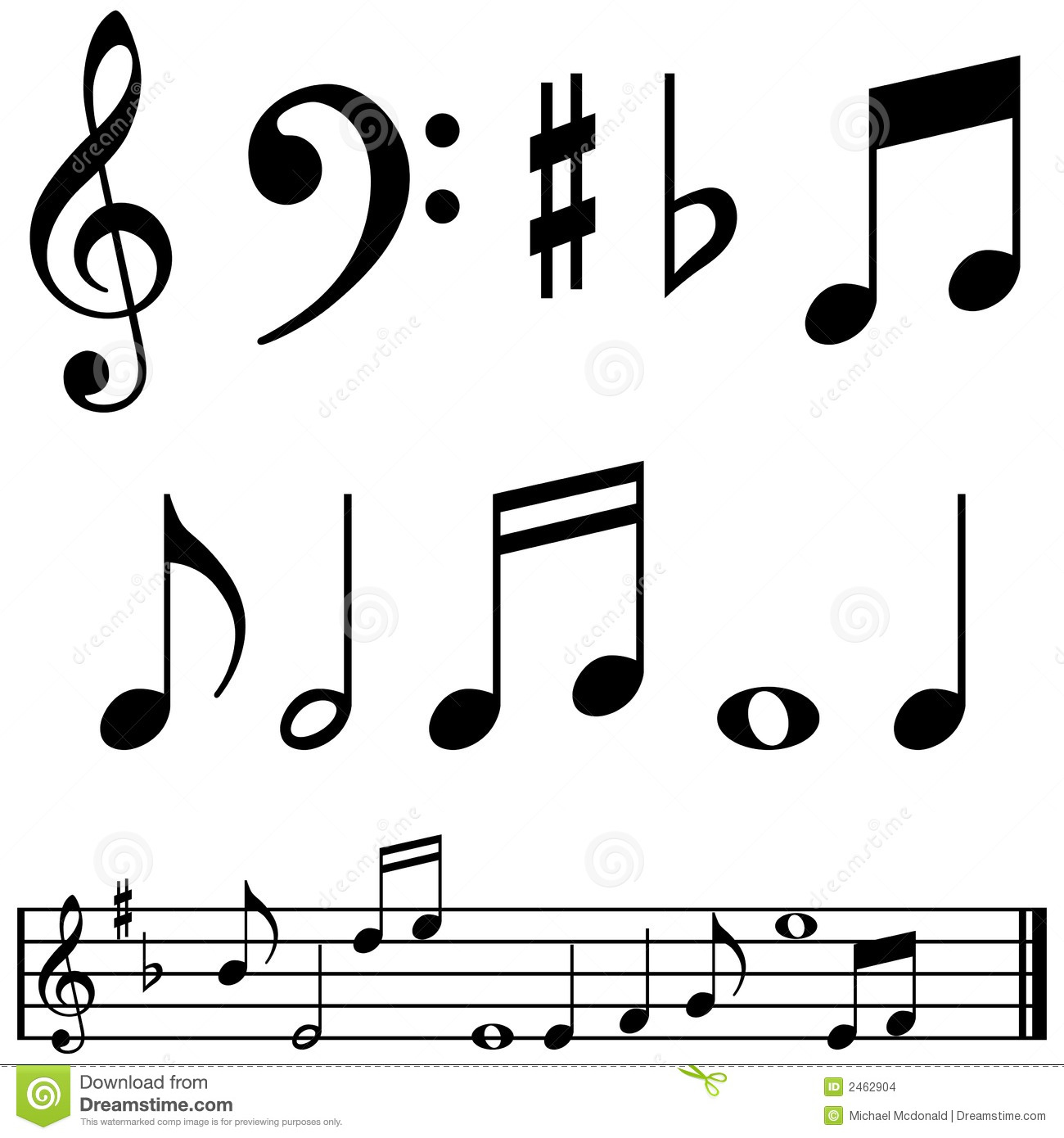 Music notes and symbols stock vector illustration of score 2462904 music notes and symbols biocorpaavc Images