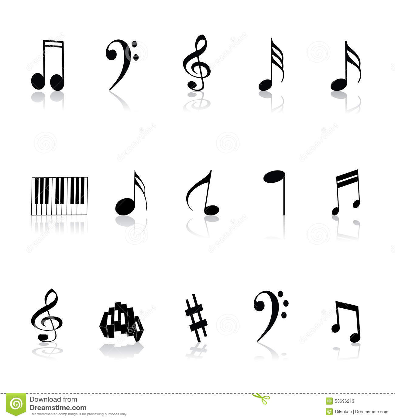 Music Notes And Symbols Illustration 53696213 Megapixl