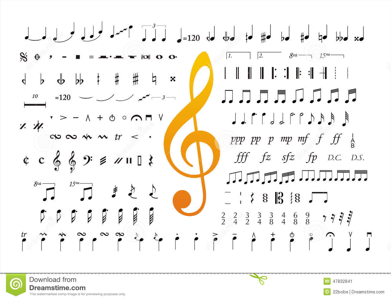 music notes symbols 2 stock vector image 47832841