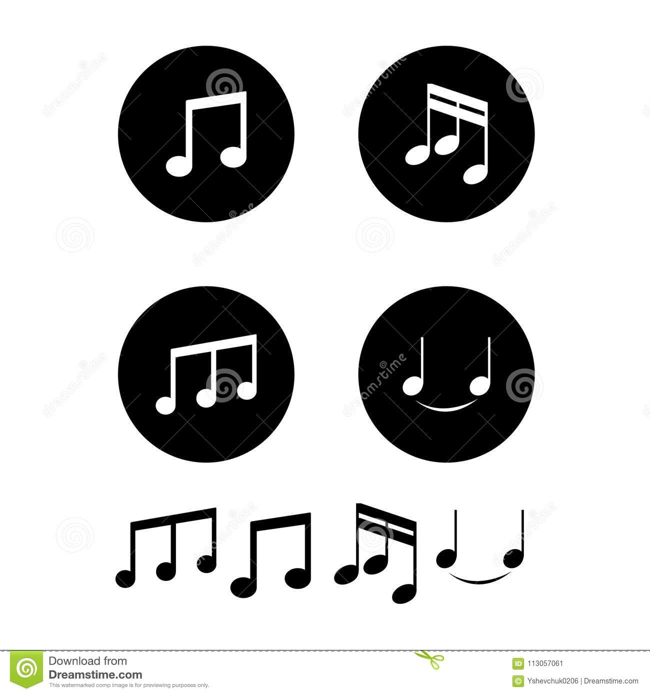 Music Notes White Background Vector Illustration Stock Vector