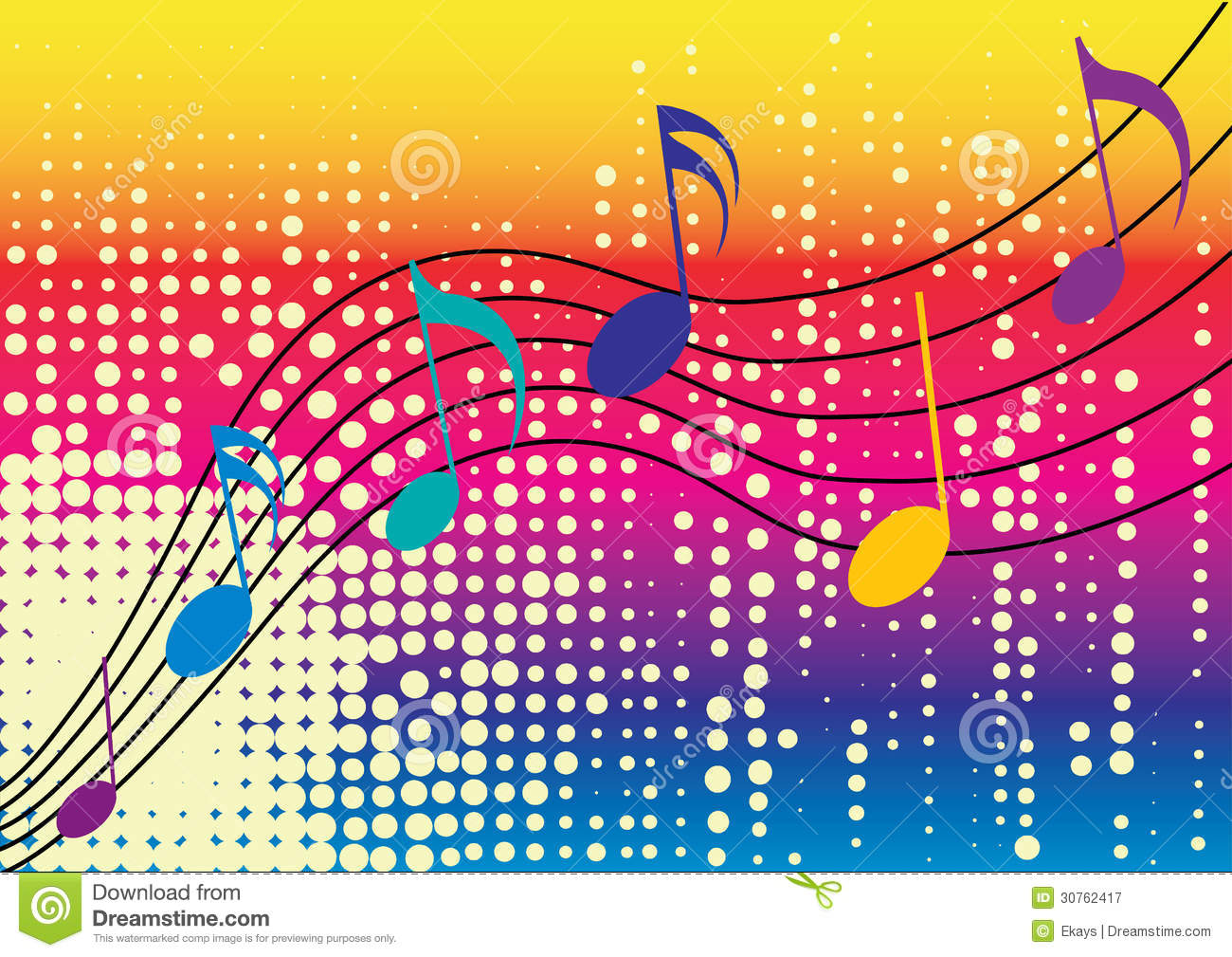 Rainbow Notes On Light Background Stock: Music Notes Royalty Free Stock Photography