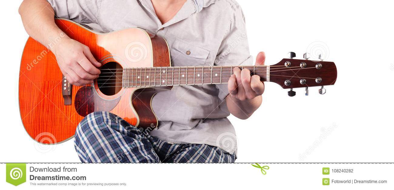 Music Orange Electric Acoustic Guitar Player Chord C Isolated