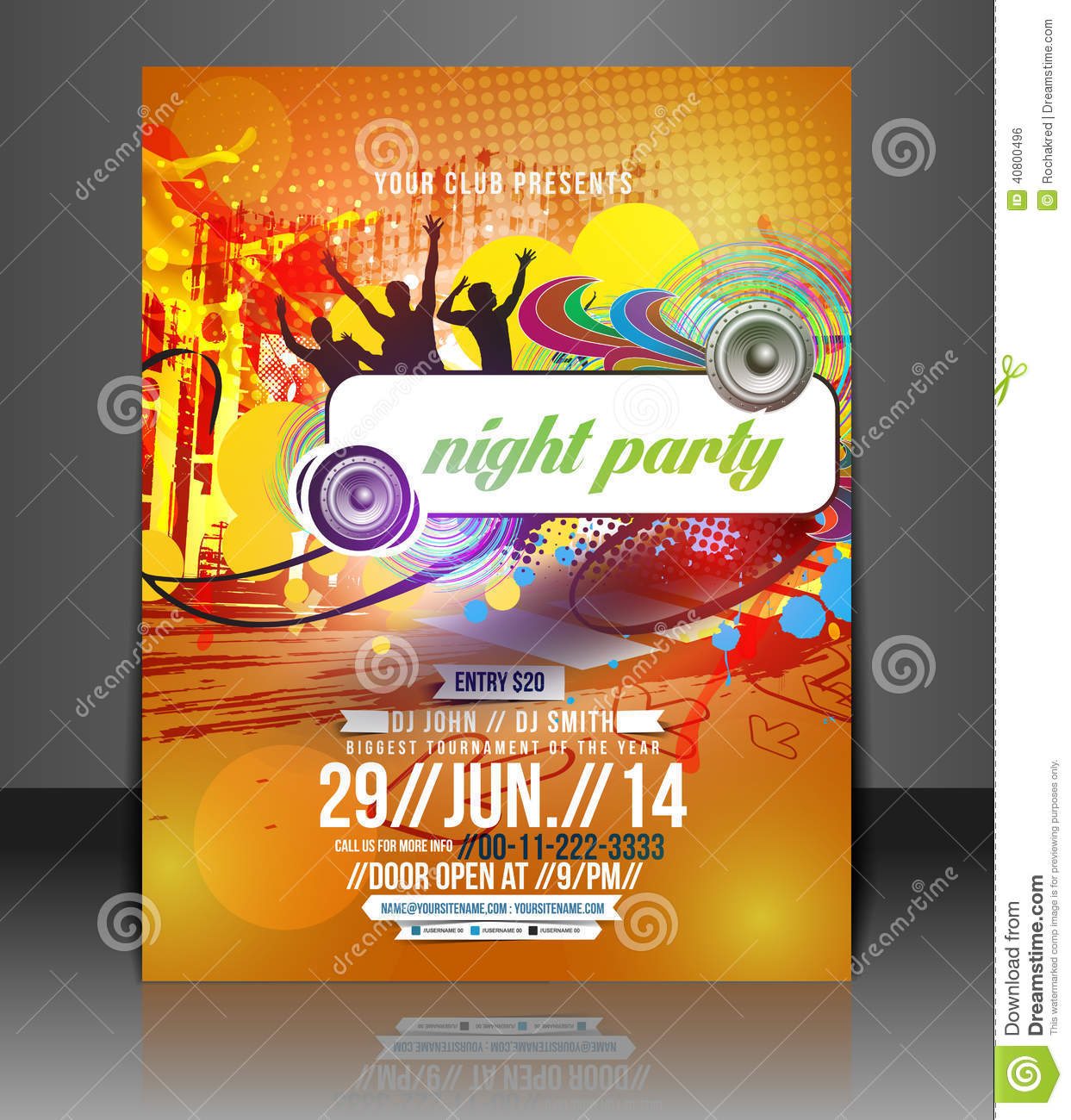 music party flyer design stock vector illustration of magazine