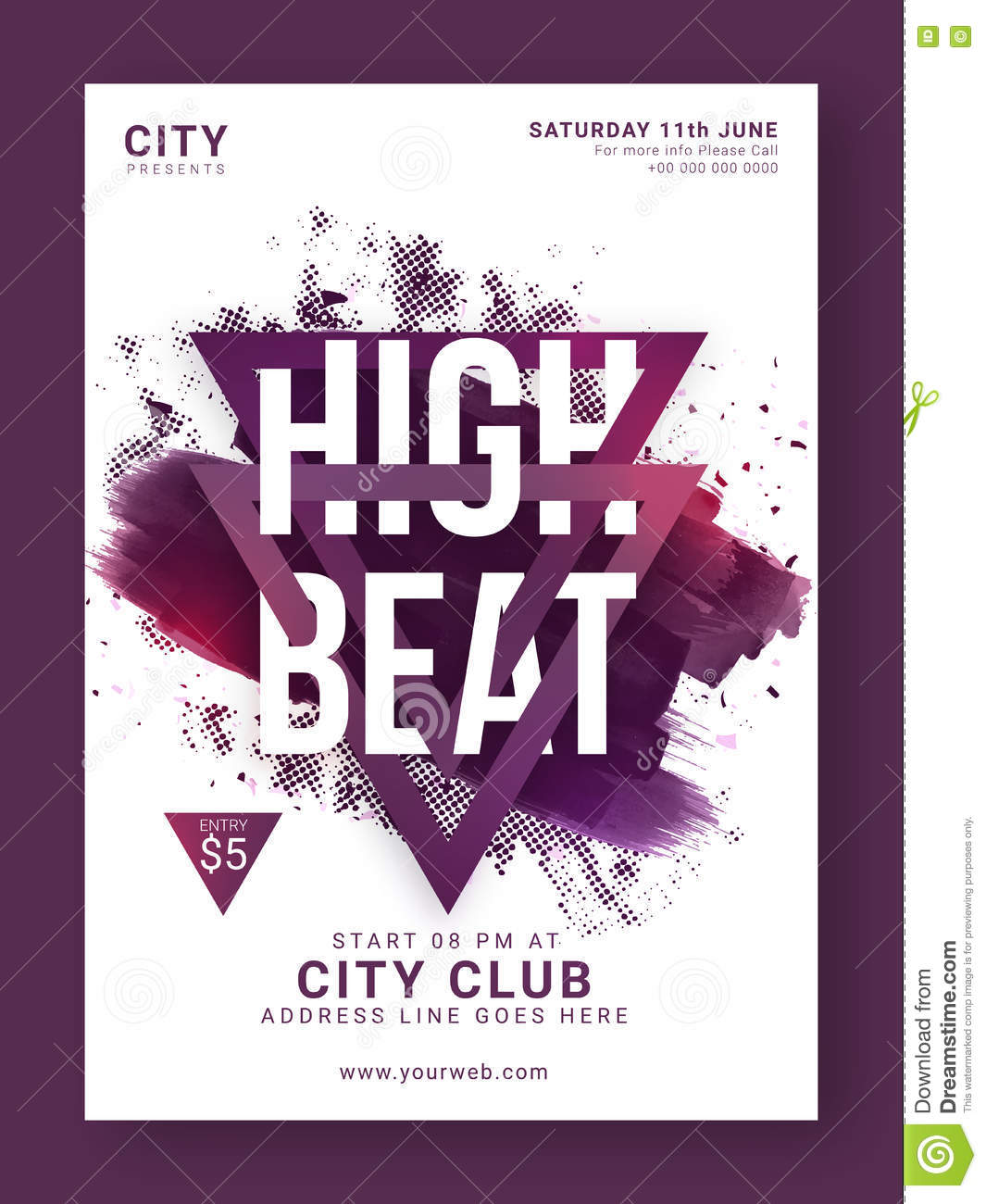 music party flyer template or banner design stock illustration
