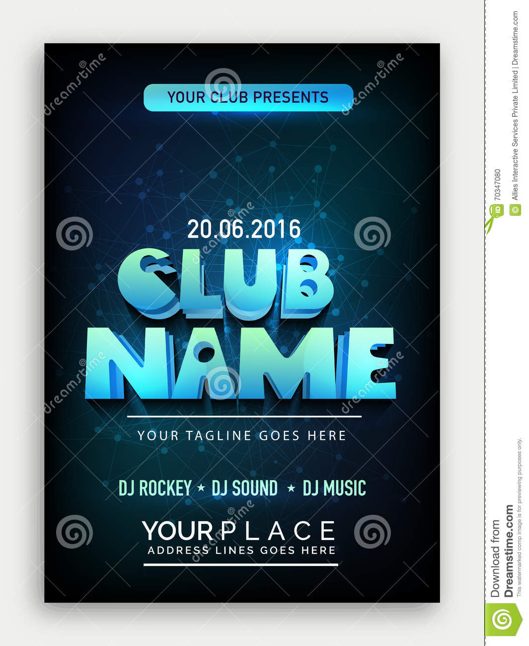 music party flyer template or banner design royalty free stock photo 70818507. Black Bedroom Furniture Sets. Home Design Ideas