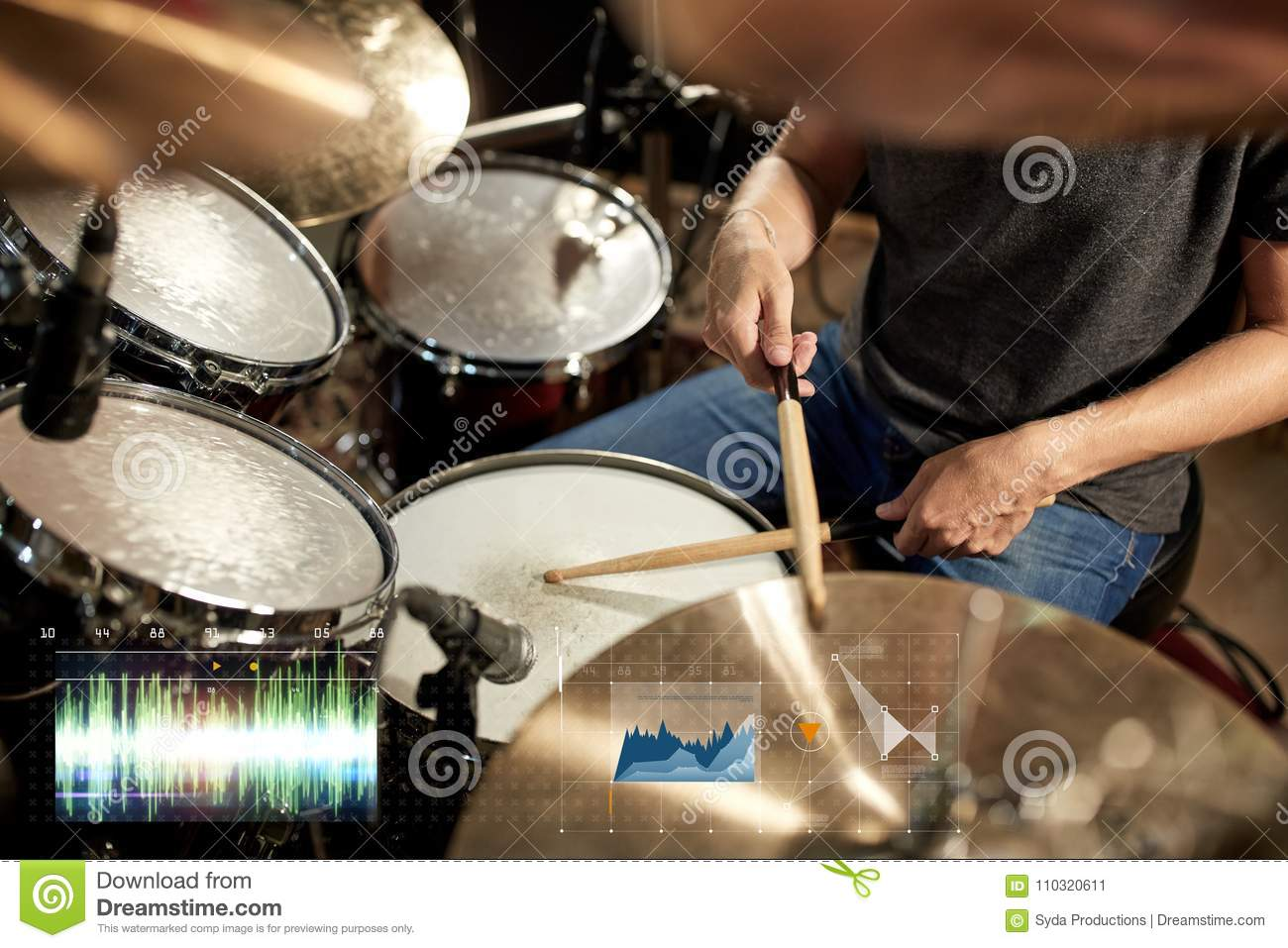 Male Musician Playing Drum Kit At Concert Stock Image Of Set Diagram Download Drumset
