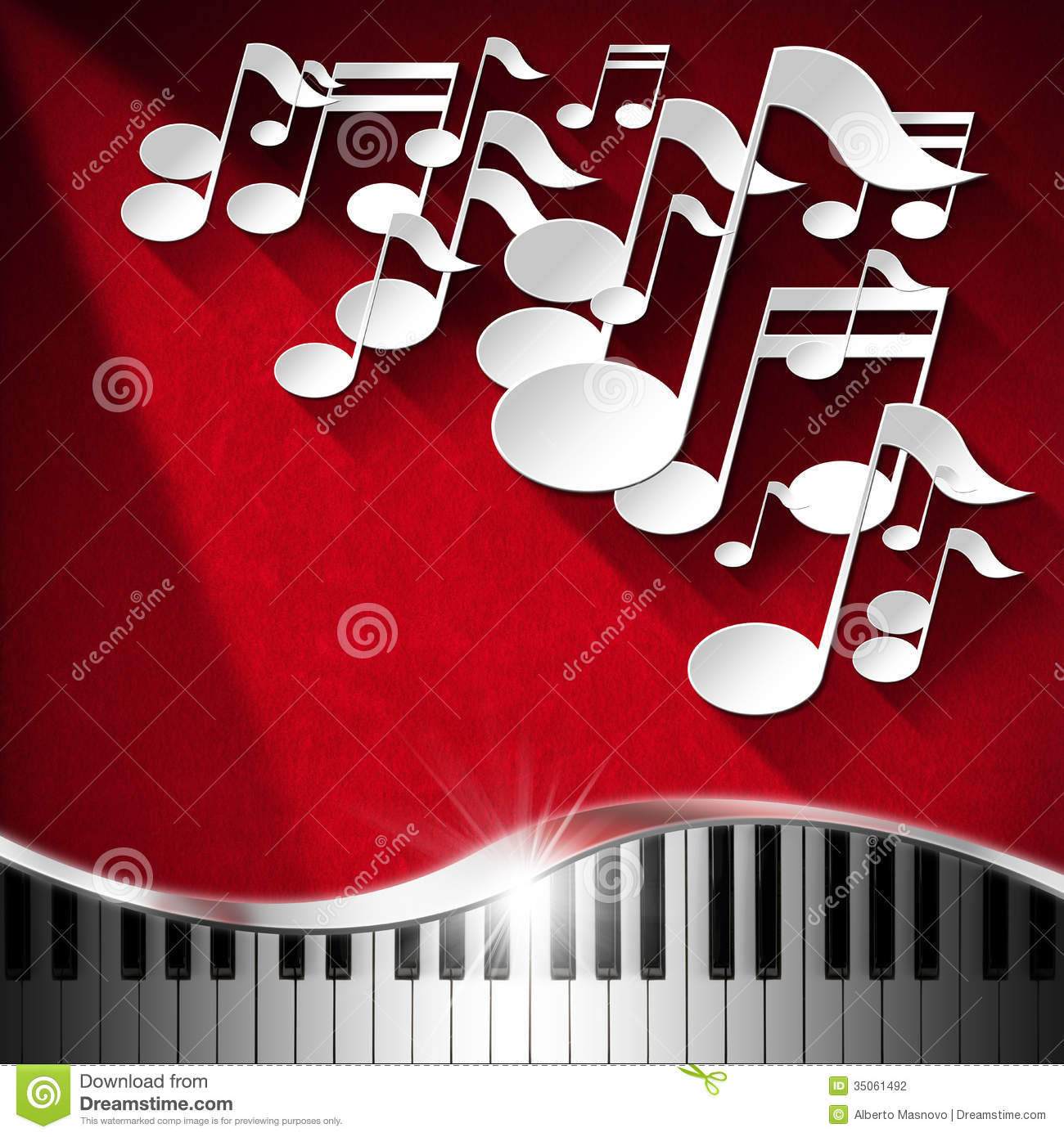 White musical notes and piano keyboard on red velvet background with