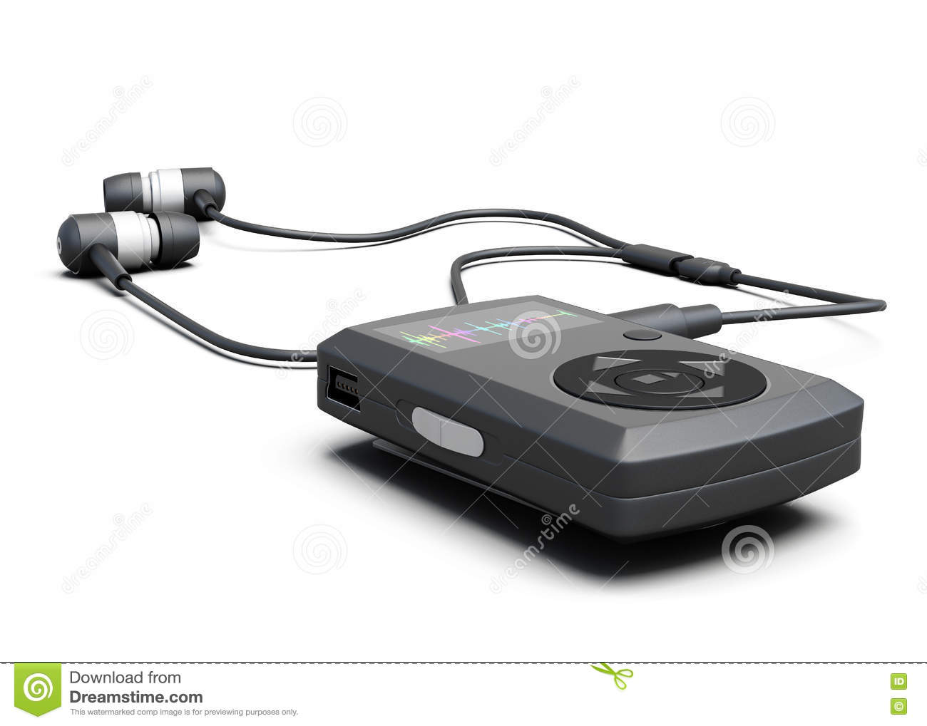 Music Player With Headphones On A White Background  3d