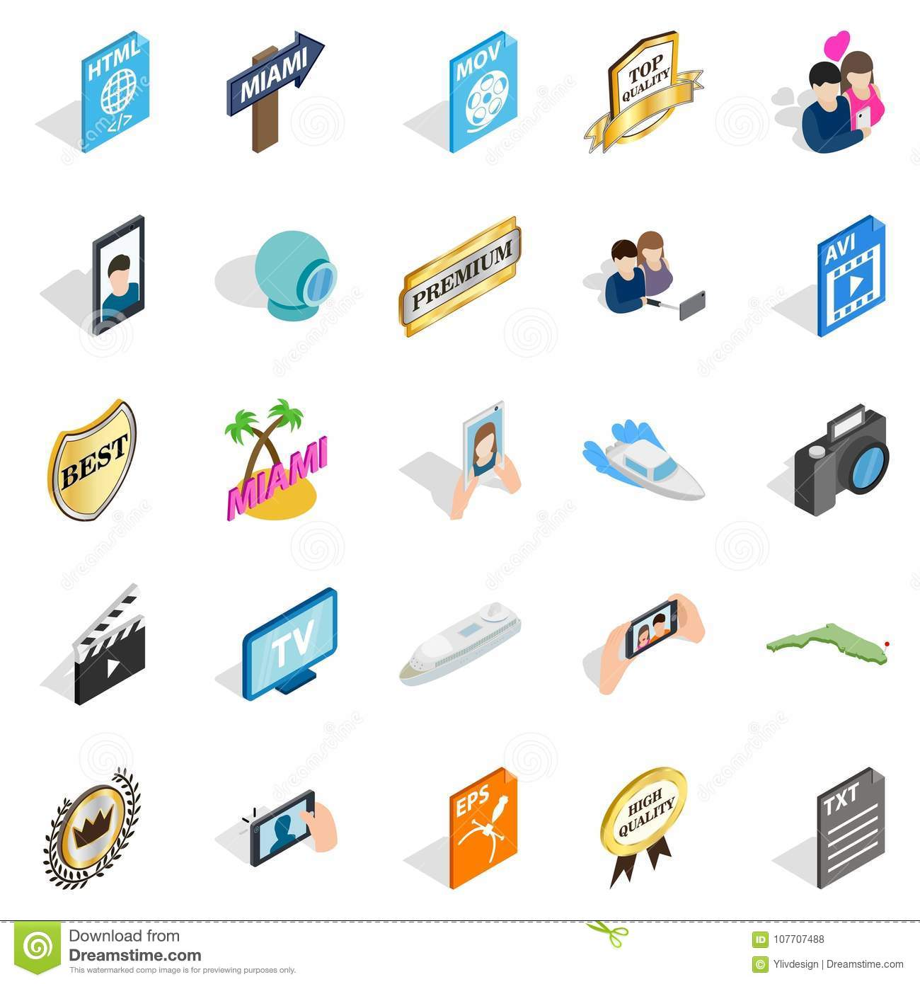 Music Player Icons Set, Isometric Style Stock Vector - Illustration