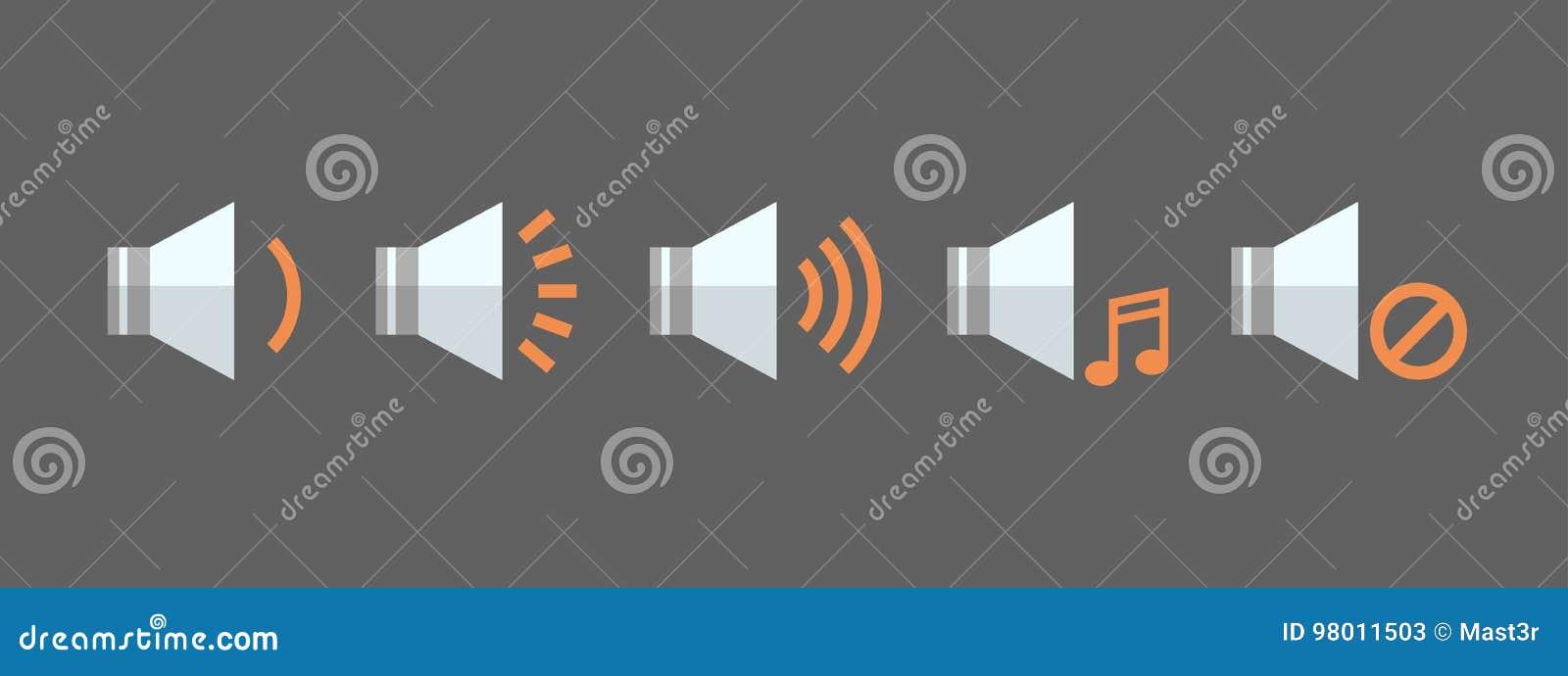 Music Player Volume Icon Set Audio Listening App Interface Button