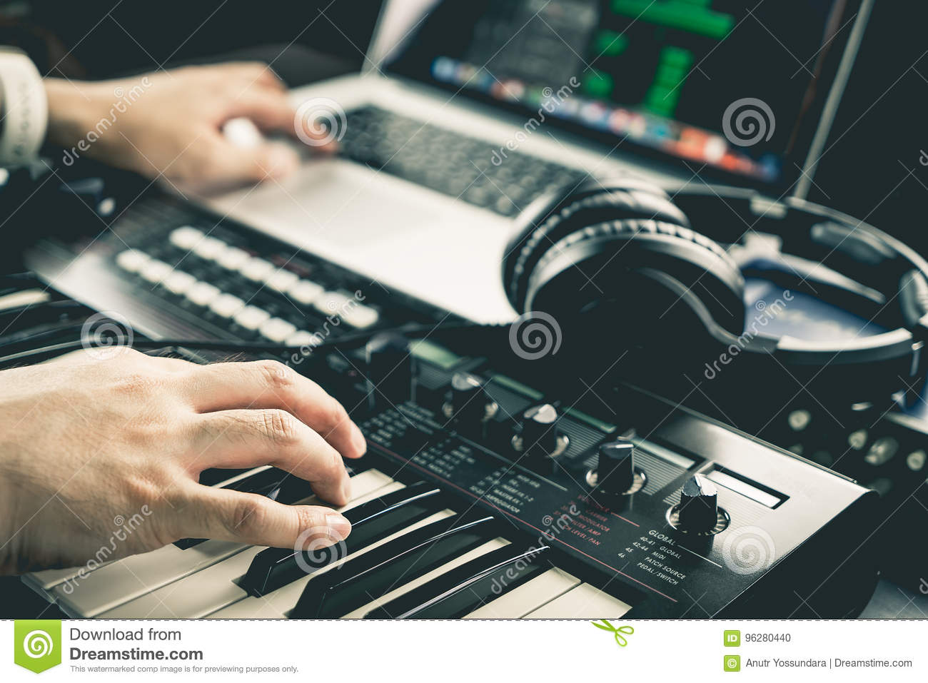 Music producer is recording sound