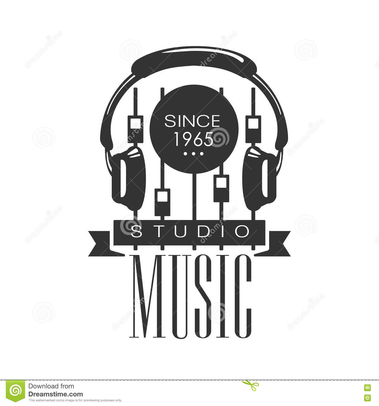 Music Record Studio Black And White Logo Template With Sound Recording Retro With Headphones And Console