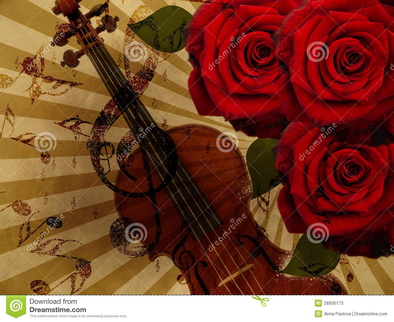 music roses and violin background stock illustration