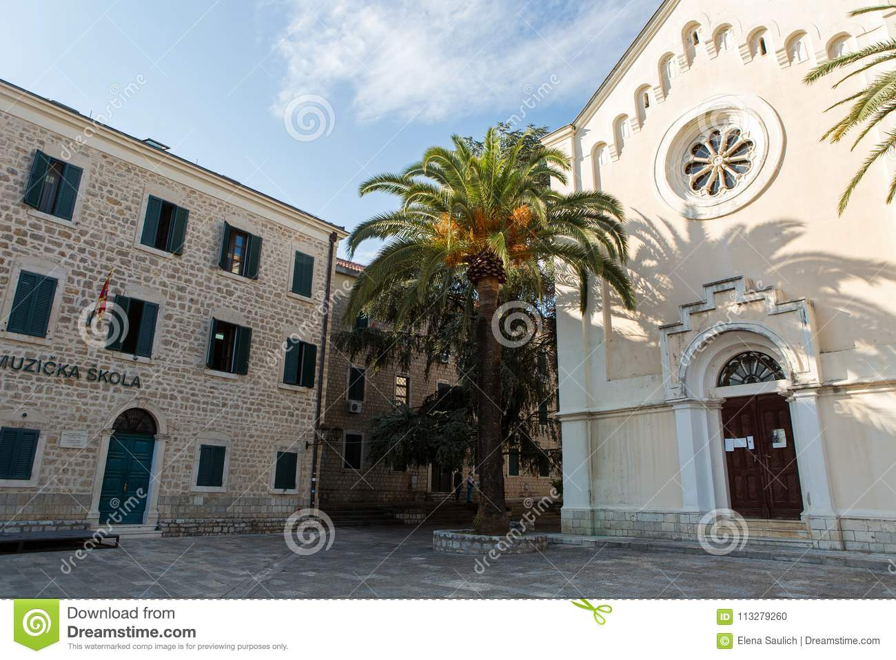 Music School And Church In The Old City Editorial Image - Image of