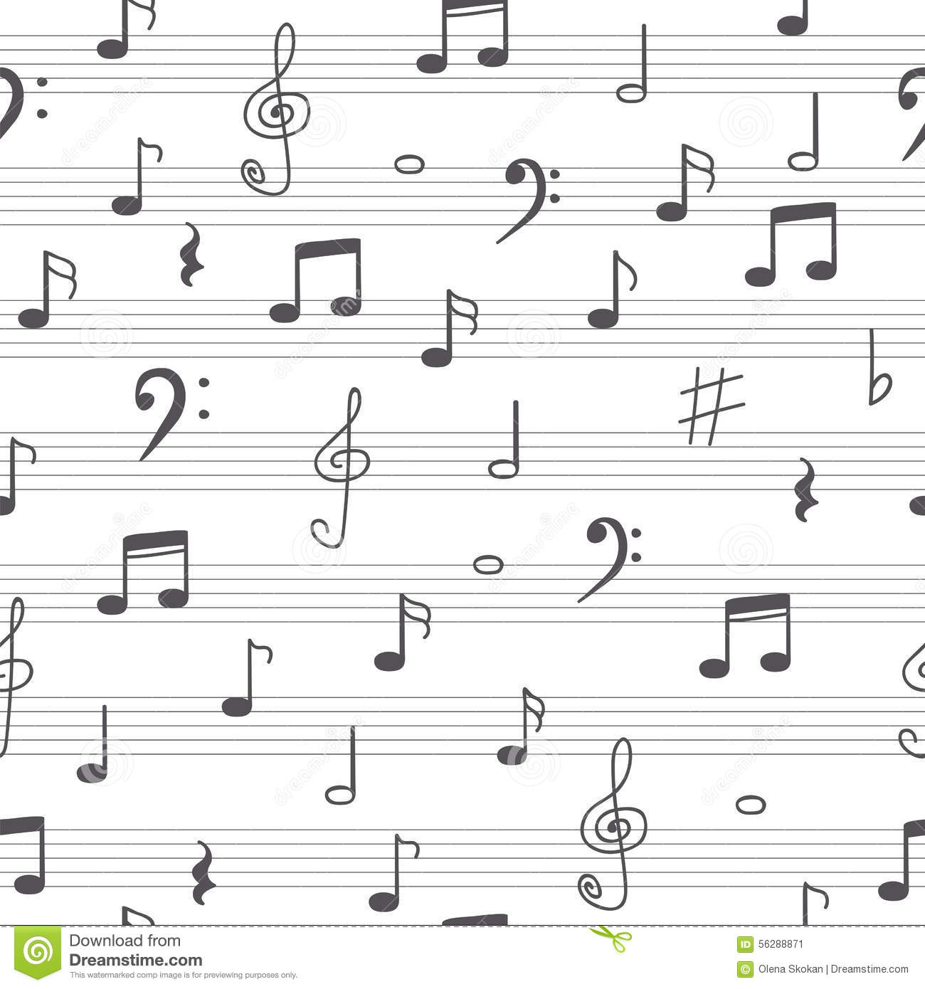 Music Seamless Pattern Background Hand Drawn Music Notes Stock