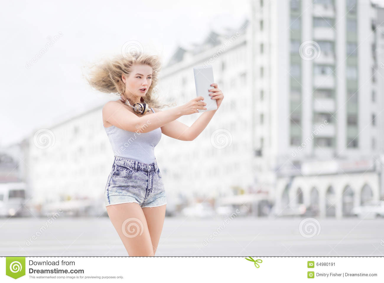 Music and selfie  stock image  Image of music, internet