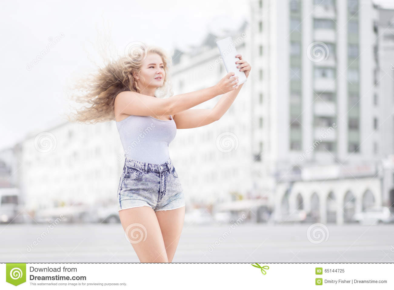 Music and selfie  stock image  Image of girl, entertainment