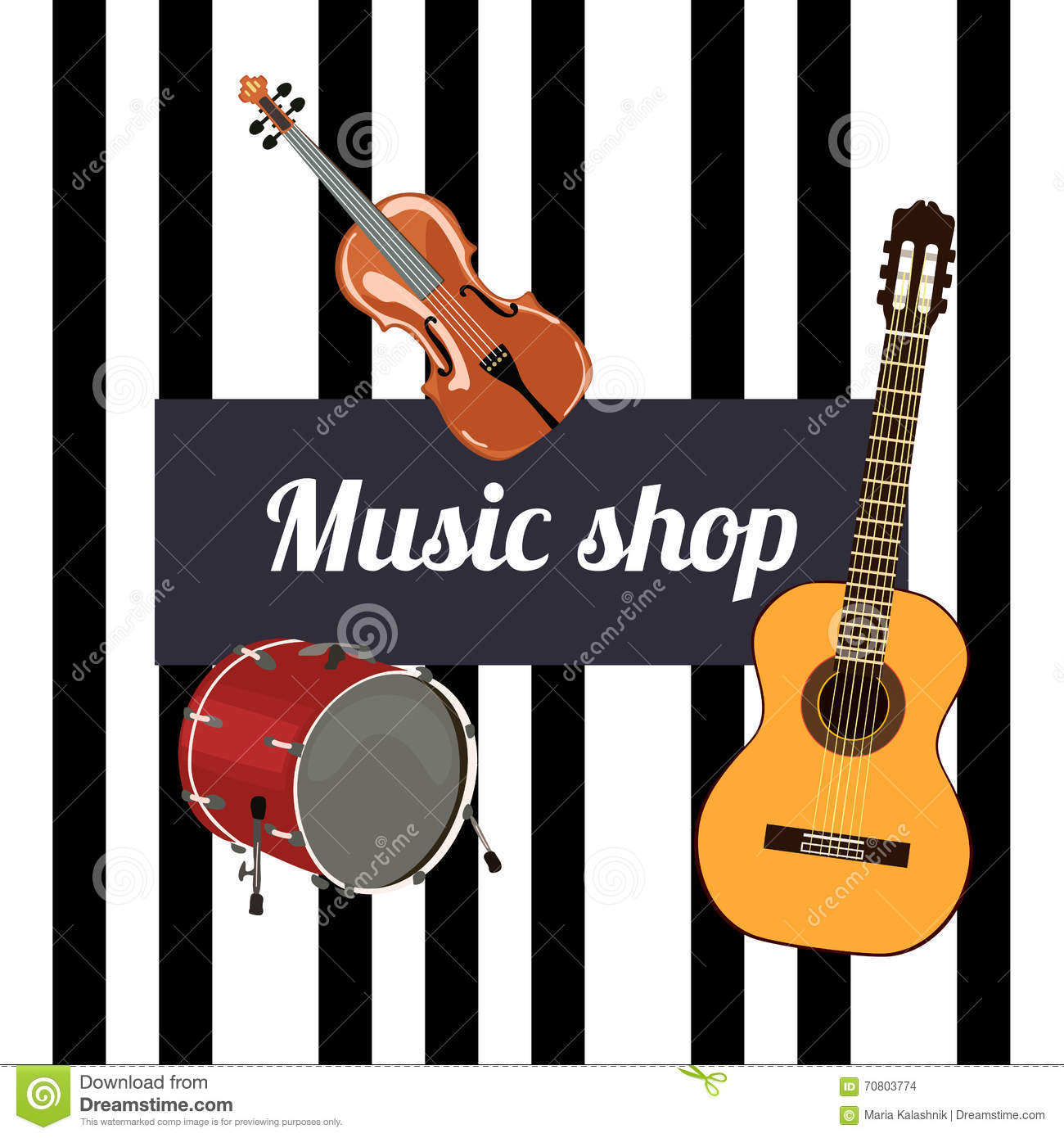 Music shop Sign  stock vector  Illustration of lettering