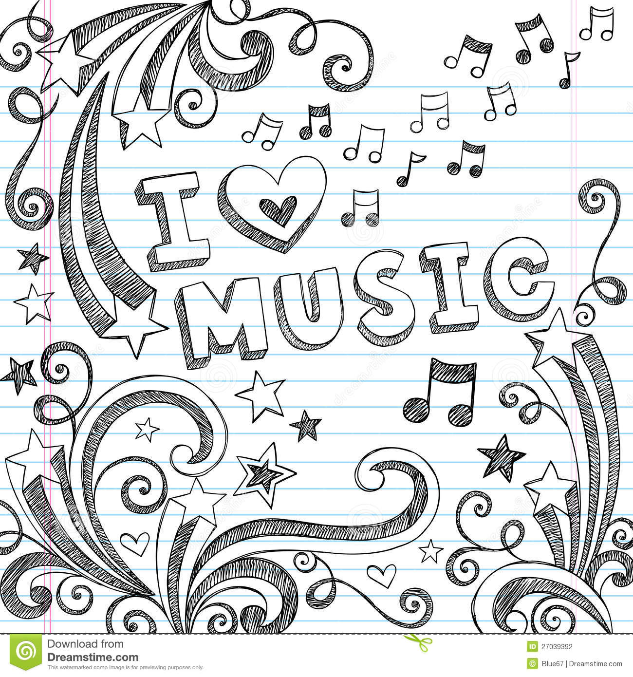 Music sketchy notebook doodles vector illustration stock for Schoolhouse music