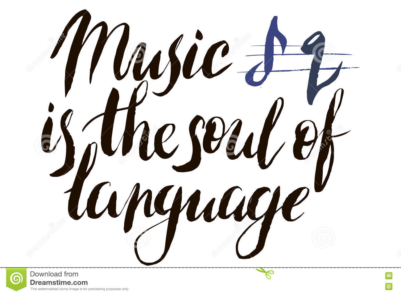 Music Is The Soul Of Language Calligraphy Postcard Or Poster