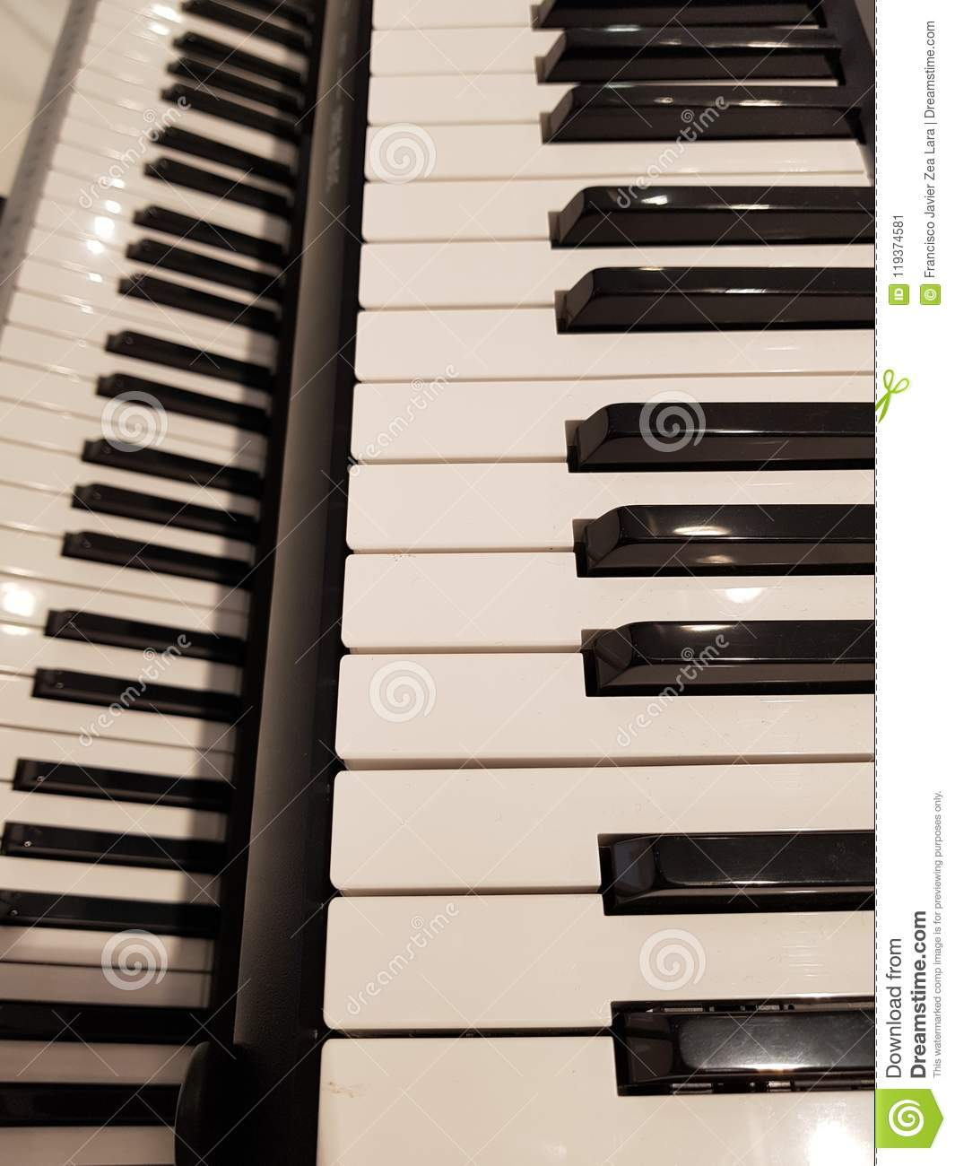 Approaching A Musical Keyboard, Background And Texture Stock Image