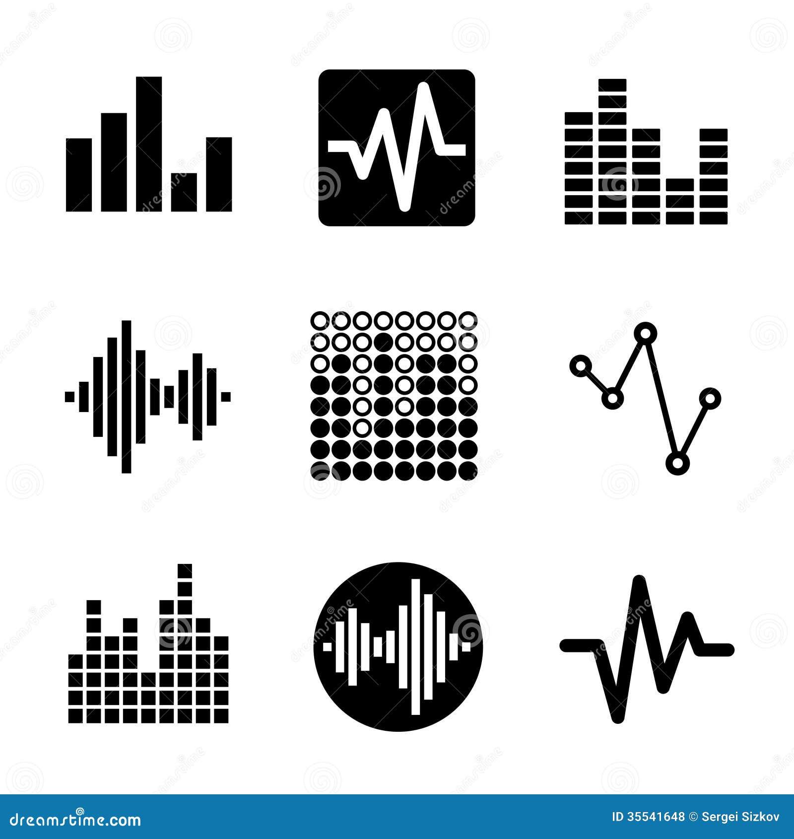 music soundwave icons set royalty free stock photos