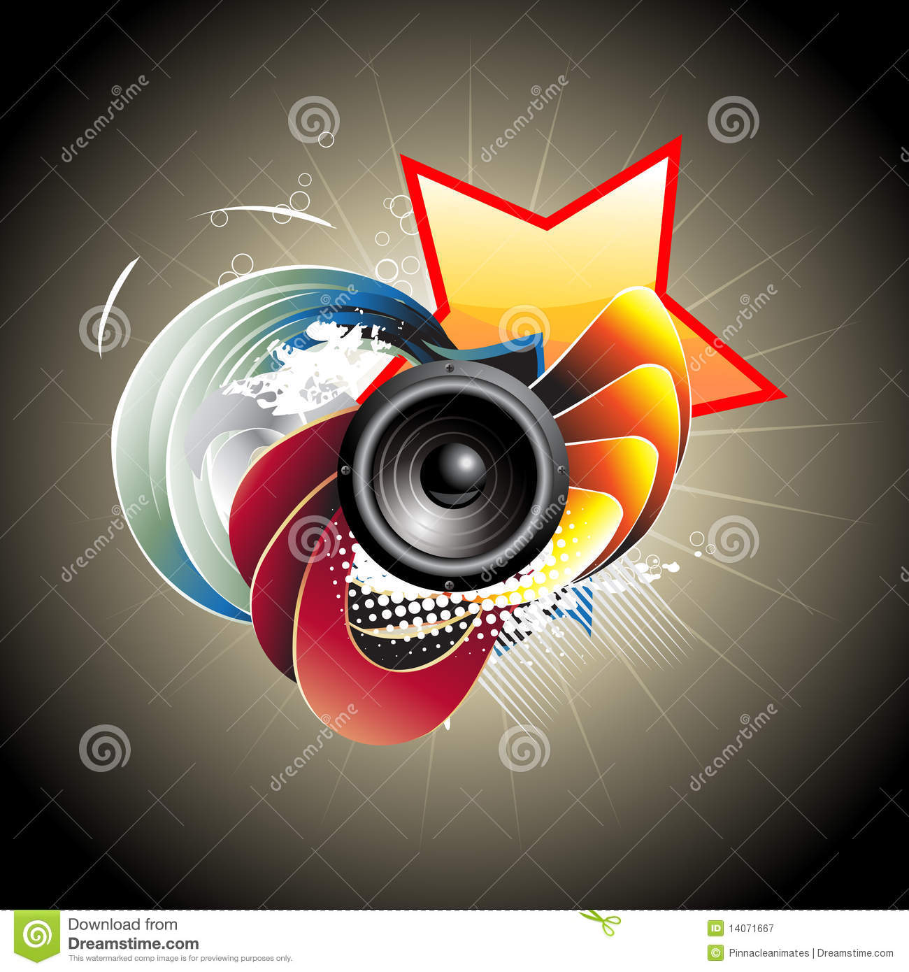 Vector musical speaker design with artistic background visit my
