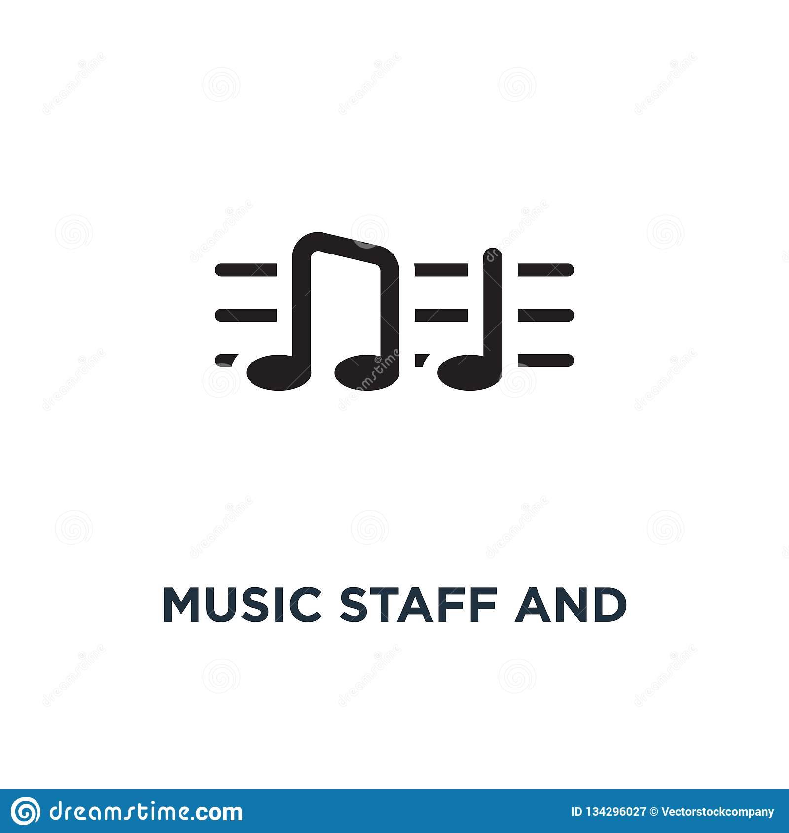 Music staff and notes icon. Simple element illustration. Music s