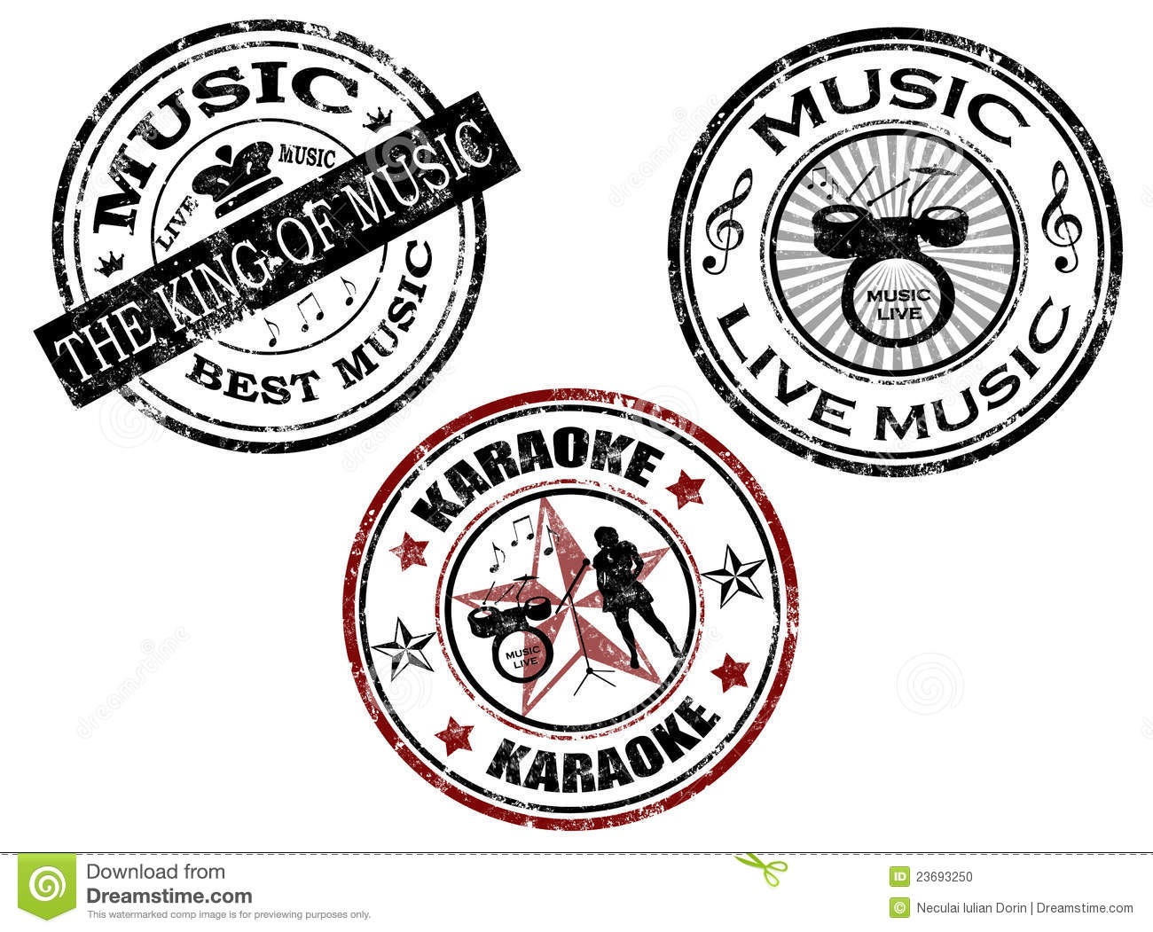 Music Stamp Stock Vector Illustration Of Sign Sound