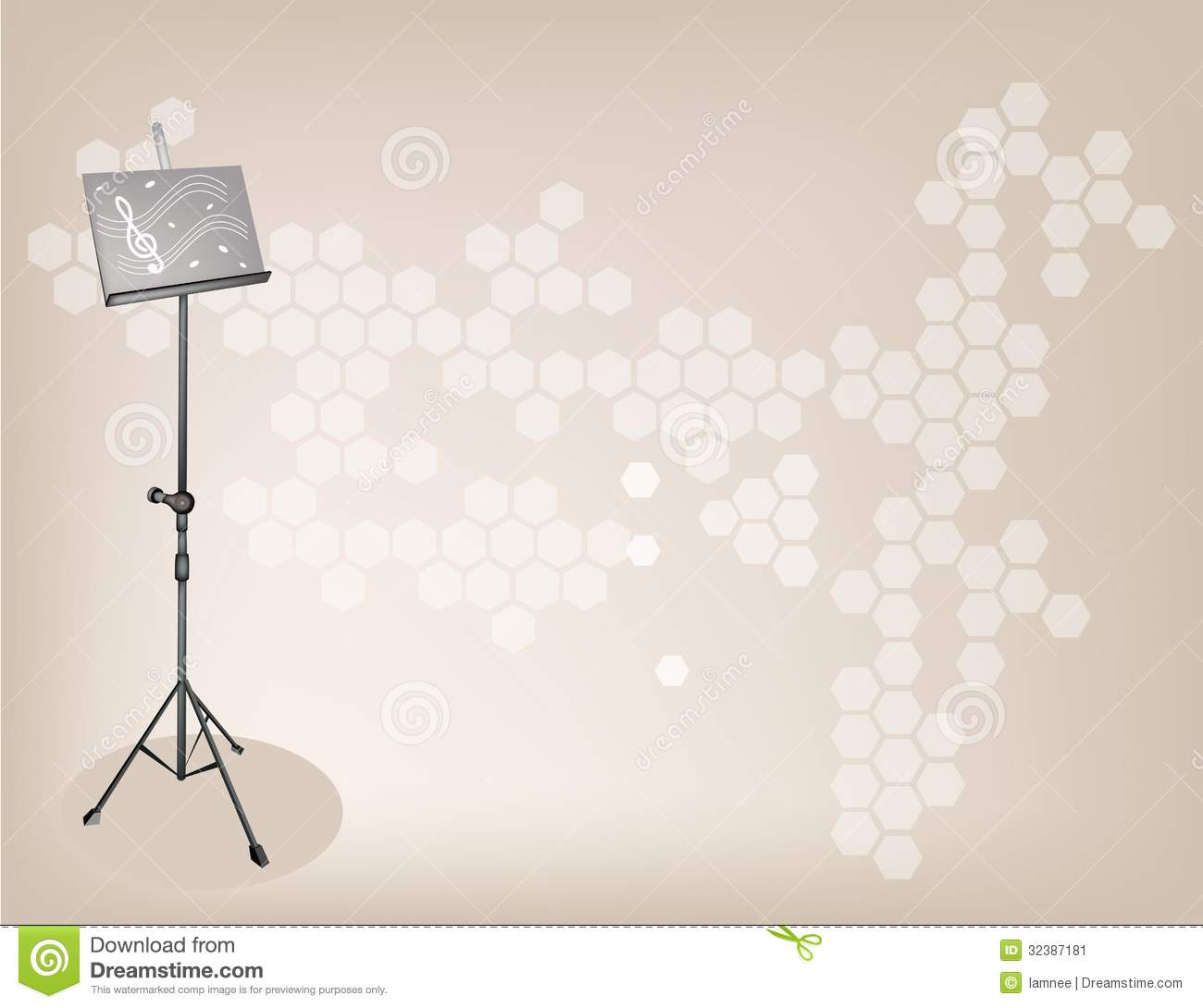 a music stand on dark brown background stock image