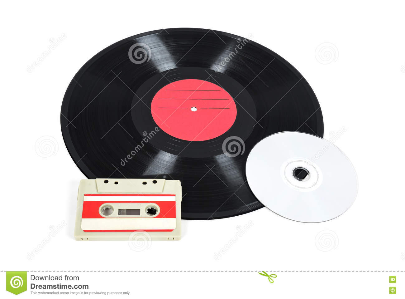 Music Storage Devices Vinyl Record Analog Cassette And