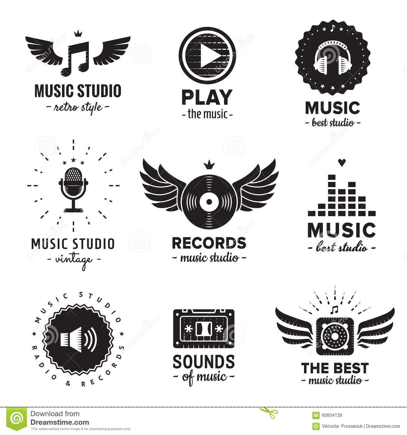Music Studio And Radio Logos Vintage Vector Set Hipster