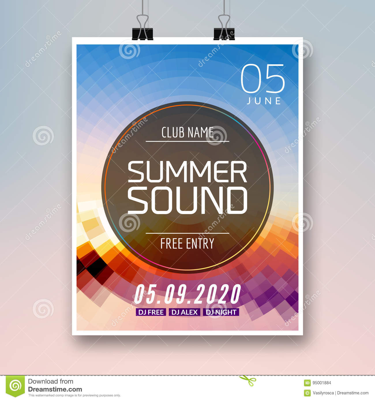 music summer party poster graphic design disco dance flyer or