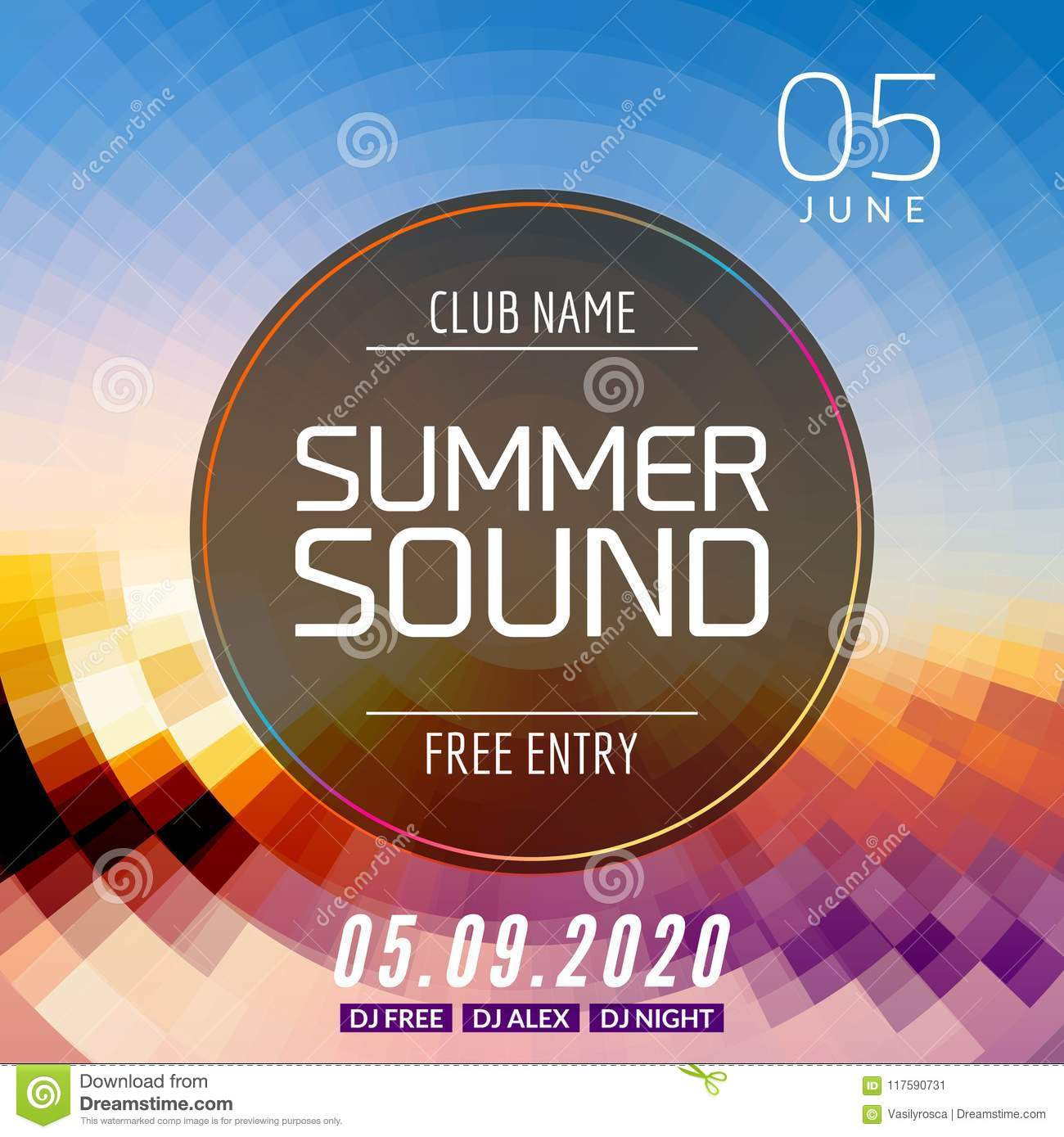 Music summer party poster graphic design disco dance flyer or music summer party poster graphic design disco dance flyer or poster template summer sound maxwellsz