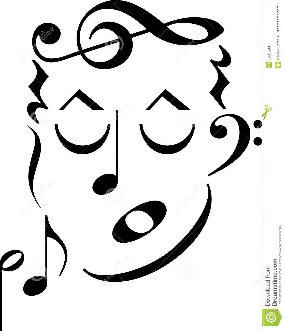 Music Symbol Face Stock Illustration Illustration Of Drawings 6837580