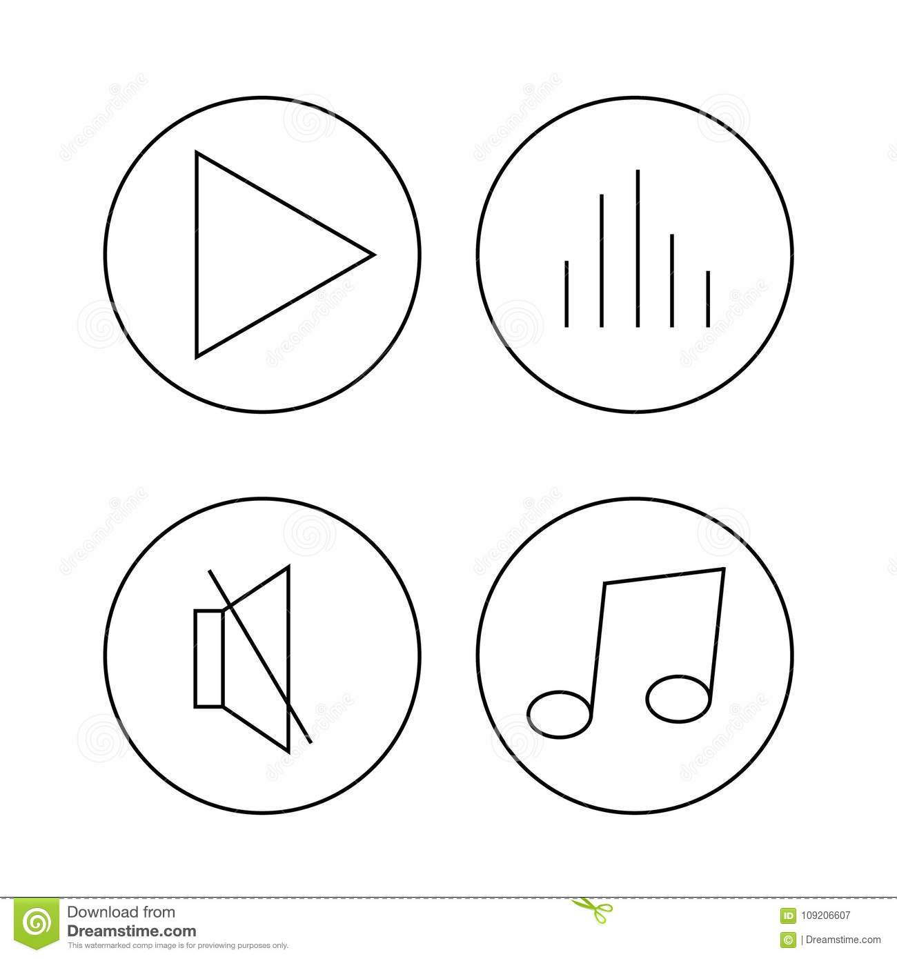 Music Symbols Flat Icons With White Background Isolated Play Volume