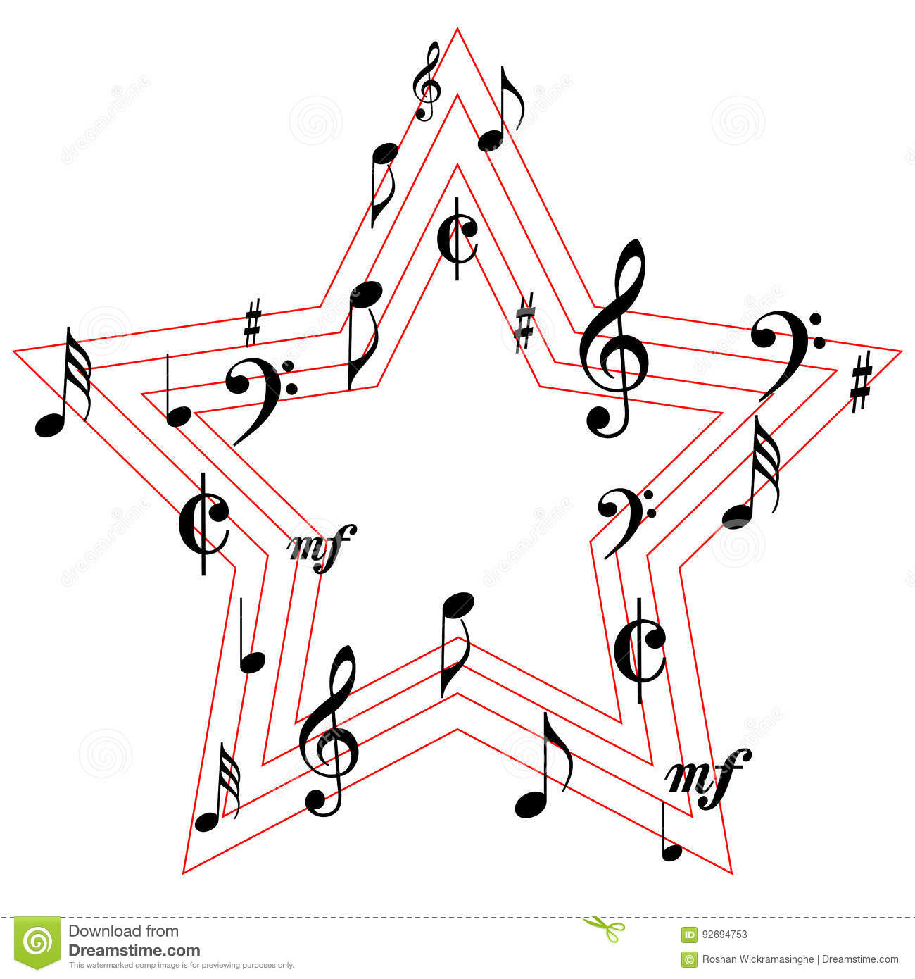 Music Symbols Star Icons Stock Vector Illustration Of Octave 92694753