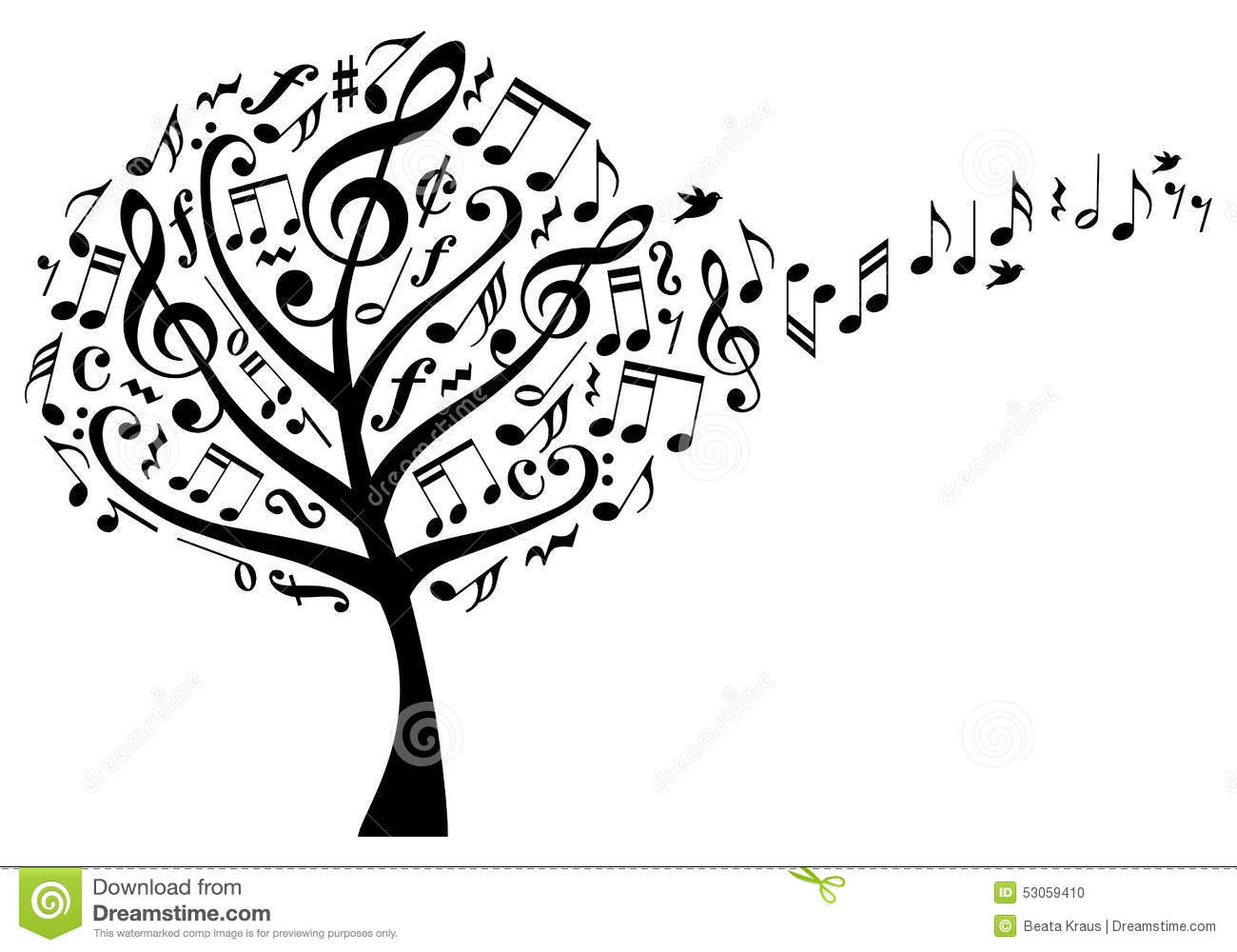 music tree with notes  vector stock vector