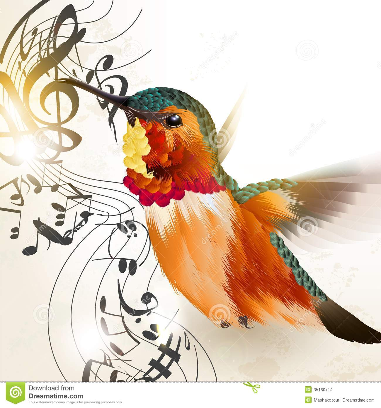 ... Background With Humming Bird And Notes Stock Images - Image: 35160714