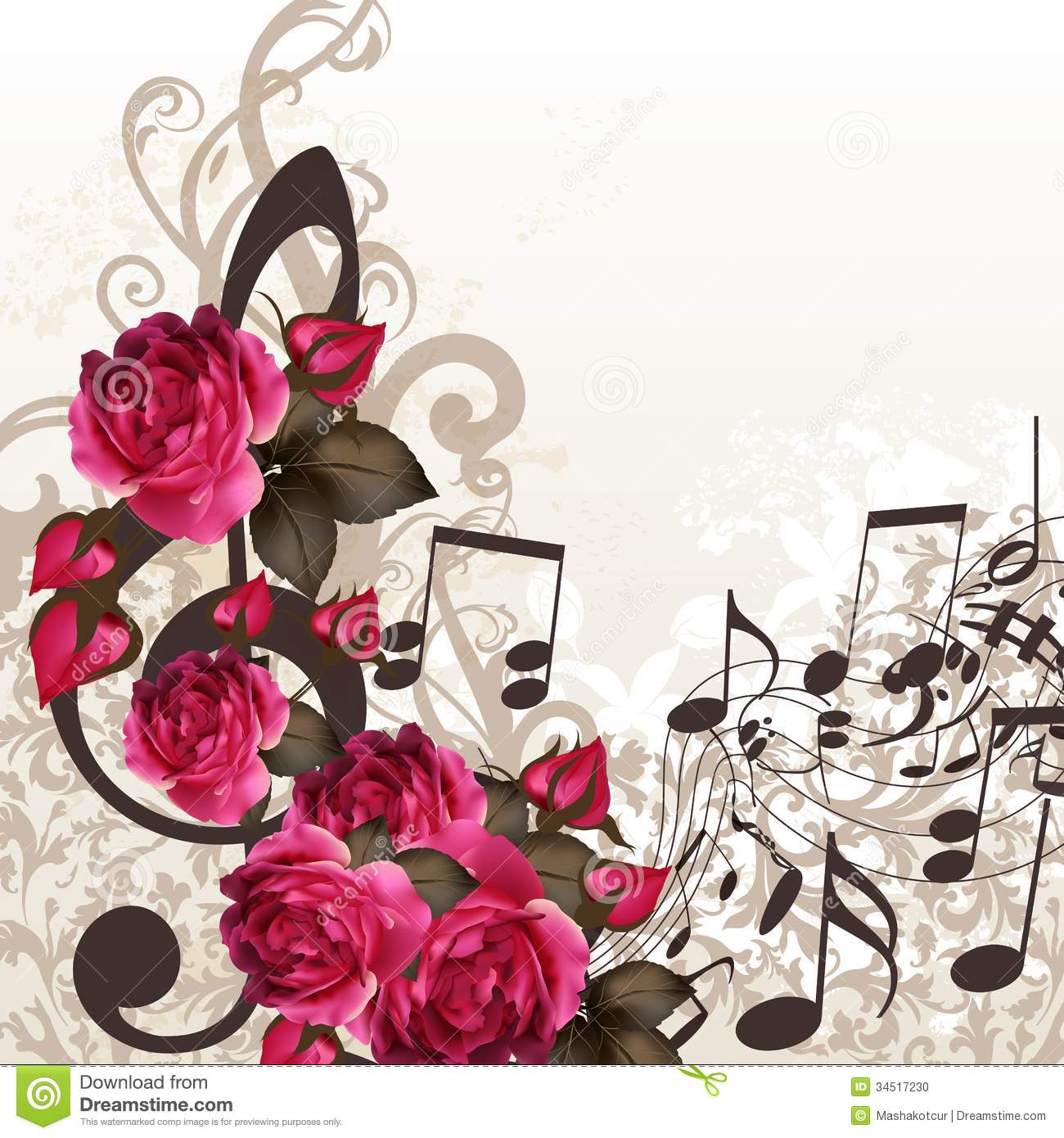 music notes backgrounds floral - photo #14